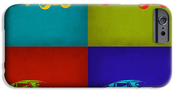 Vintage Car iPhone Cases - Ford Mustang Pop Art 1 iPhone Case by Naxart Studio