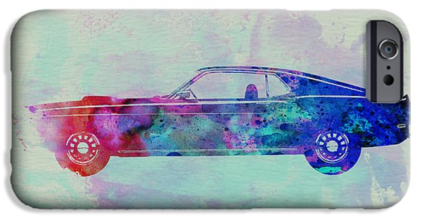 Automotive Drawings iPhone Cases - Ford Mustang Watercolor 1 iPhone Case by Naxart Studio