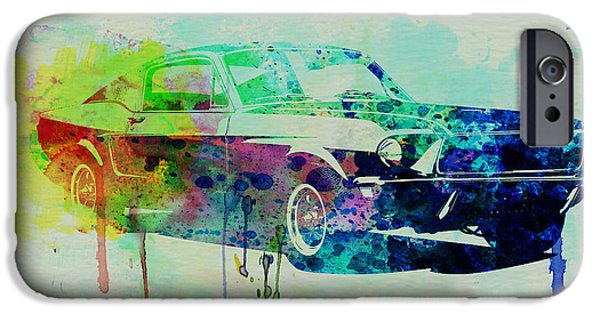 Vintage Cars iPhone Cases - Ford Mustang Watercolor 2 iPhone Case by Naxart Studio