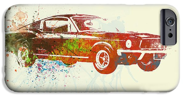 Classic Racing Car iPhone Cases - Ford Mustang Watercolor iPhone Case by Naxart Studio