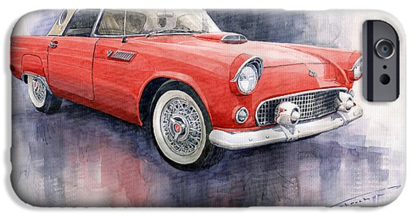 Cars iPhone Cases - Ford Thunderbird 1955 Red iPhone Case by Yuriy  Shevchuk