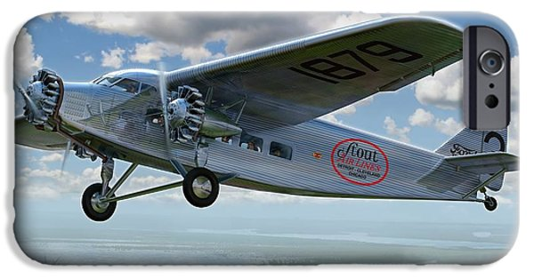 Airliner iPhone Cases - Ford Trimotor iPhone Case by Stu Shepherd