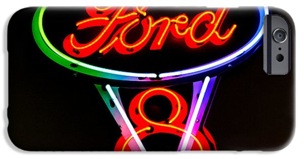 V8 iPhone Cases - Ford V8 Neon Sign iPhone Case by Jill Reger