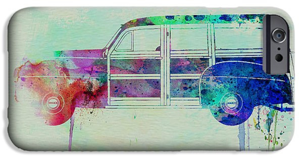 Automotive Drawings iPhone Cases - Ford Woody iPhone Case by Naxart Studio