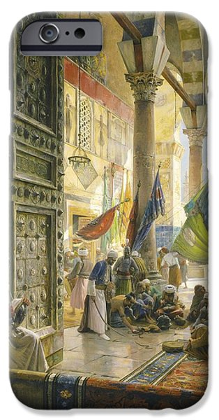 Interior Scene iPhone Cases - Forecourt Of The Ummayad Mosque, Damascus, 1890 Oil On Panel iPhone Case by Gustave Bauernfeind