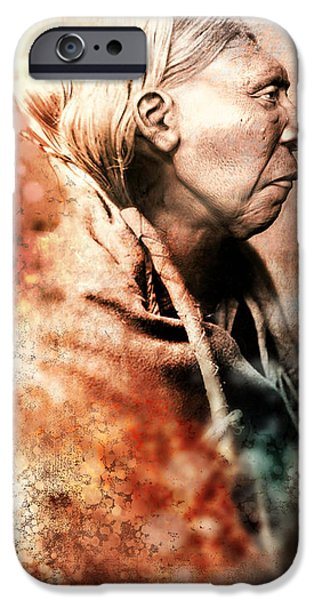 Native American Spirit Portrait iPhone Cases - Foregoing iPhone Case by Marcia K Moore