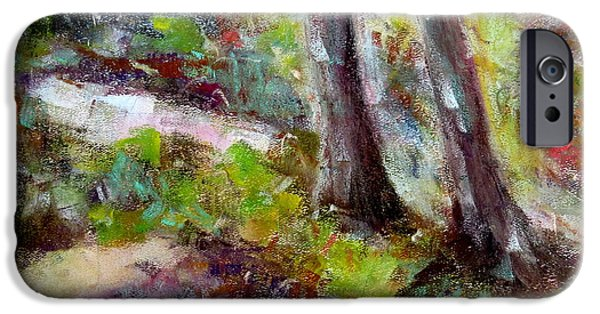 Concept Paintings iPhone Cases - Forest Carpet iPhone Case by Katie Black