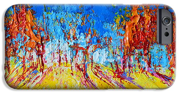 Beautiful Scenery Paintings iPhone Cases - Forest Landscape No 1 iPhone Case by Patricia Awapara