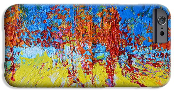 Beautiful Scenery Paintings iPhone Cases - Forest Landscape No 2 iPhone Case by Patricia Awapara