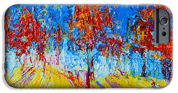 Beautiful Scenery Paintings iPhone Cases - Forest Landscape No 4 iPhone Case by Patricia Awapara