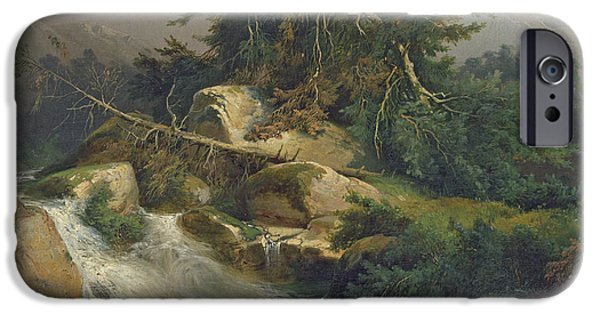 Landscape With Mountains iPhone Cases - Forest Landscape with Waterfall  iPhone Case by Julius Bakof