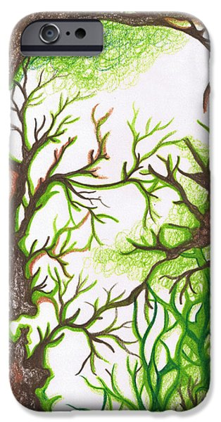 Earth Tones Drawings iPhone Cases - Forest  iPhone Case by Laura Noel