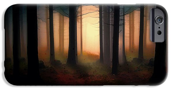 Original Art Mixed Media iPhone Cases - Forest Light iPhone Case by Shanina Conway