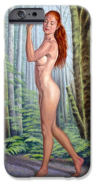 Figures Paintings iPhone Cases - Forest Nymph iPhone Case by Paul Krapf