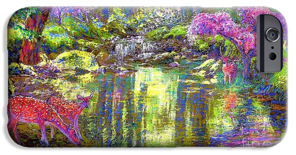 Reflection Paintings iPhone Cases - Forest of Light iPhone Case by Jane Small