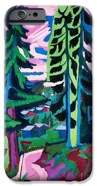 Expressionism iPhone Cases - Forest Path in Summer iPhone Case by Ernst Ludwig Kirchner