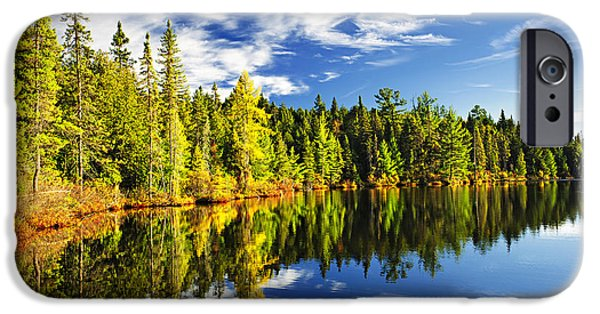 Autumn Trees iPhone Cases - Forest reflecting in lake iPhone Case by Elena Elisseeva