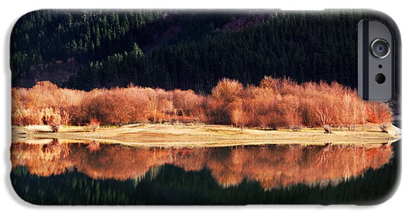 Autumn iPhone Cases - Forest Reflections On A Lake iPhone Case by Mikel Martinez de Osaba