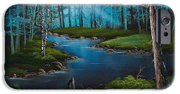 Bob Ross Paintings iPhone Cases - Moonlit River iPhone Case by C Steele