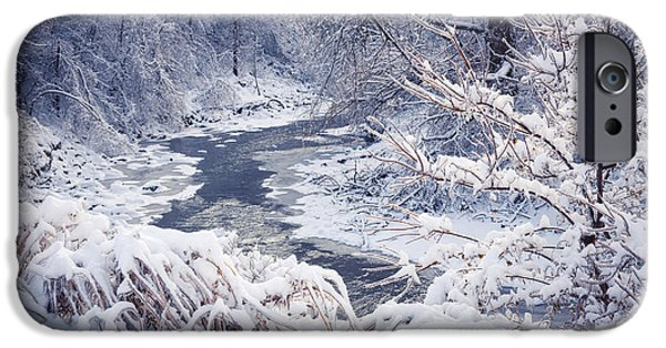 Creek iPhone Cases - Forest river in winter snow iPhone Case by Elena Elisseeva