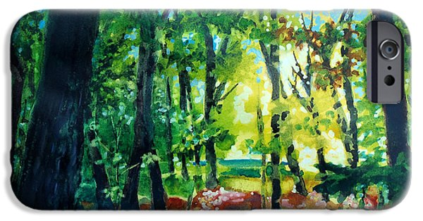 Park Scene Mixed Media iPhone Cases - Forest Scene 1 iPhone Case by Kathy Braud