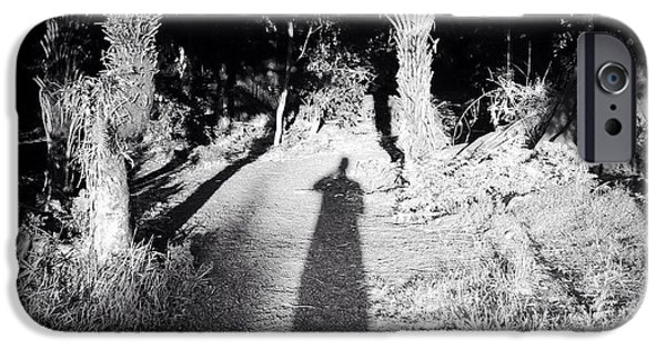 Self Portrait Photographs iPhone Cases - Forest shadow iPhone Case by Les Cunliffe