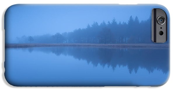 Fog Mist iPhone Cases - Forest Silhouette By Lake In Dense Dusk Fog iPhone Case by Olha Rohulya