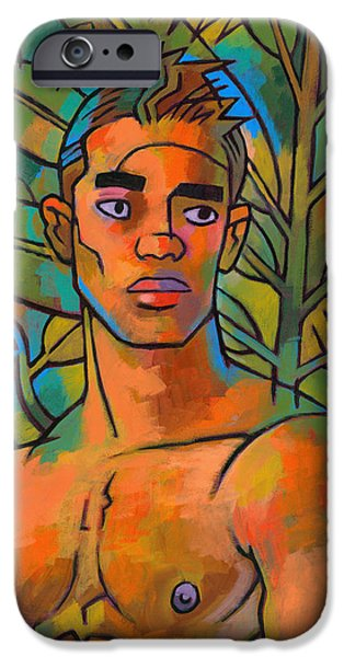 Figures Paintings iPhone Cases - Forest Spirit 2 iPhone Case by Douglas Simonson