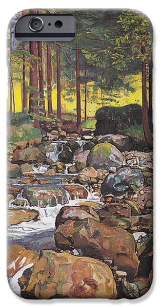 Concept Paintings iPhone Cases - Forest Stream iPhone Case by Hodler