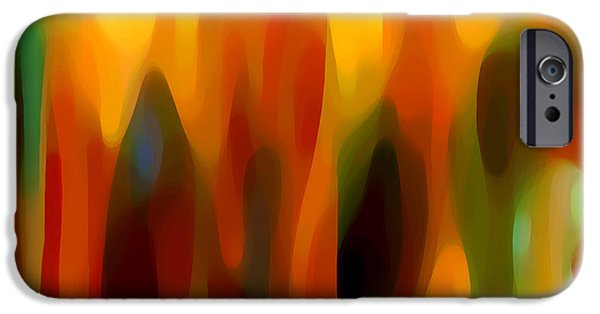 Abstract Movement Digital iPhone Cases - Forest Sunlight Horizontal iPhone Case by Amy Vangsgard
