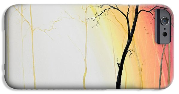 Mechanism Paintings iPhone Cases - Forest Sunset iPhone Case by Denisa Laura Doltu