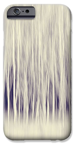 Forest Trees Abstract in Blue Ginger iPhone Case by Natalie Kinnear