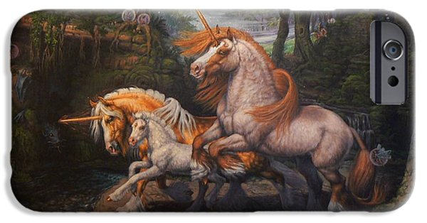 Ruin iPhone Cases - Forest Unicorns iPhone Case by Kerry Nelson