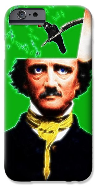 Forevermore - Edgar Allan Poe - Green - With Text iPhone Case by Wingsdomain Art and Photography