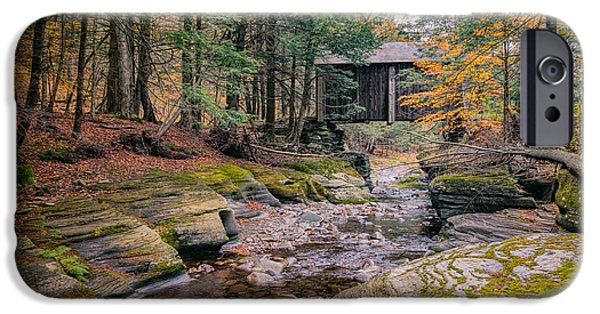 Autumn Road iPhone Cases - Forge Covered Bridge 2 iPhone Case by Joan Carroll