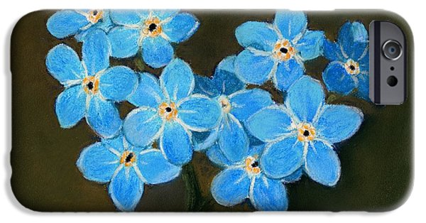 Plant Pastels iPhone Cases - Forget-Me-Not iPhone Case by Anastasiya Malakhova