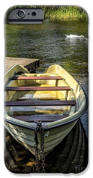 Pier Digital Art iPhone Cases - Forgotten Boat iPhone Case by Adrian Evans