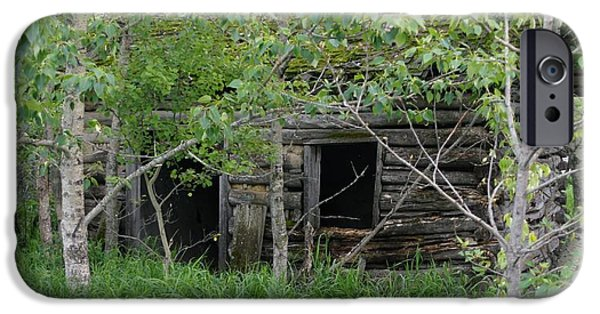 Log Cabin Digital iPhone Cases - Forgotten iPhone Case by David and Lynn Keller