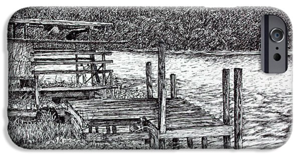 Shed Drawings iPhone Cases - Forgotten Dock iPhone Case by Janet Felts