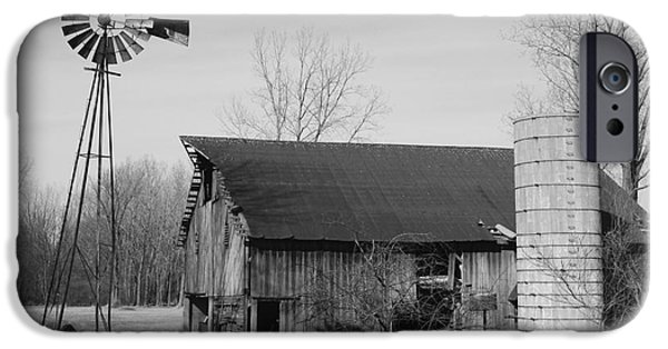Recently Sold -  - Old Barns iPhone Cases - Forgotten Farm in Black and White iPhone Case by Judy Whitton