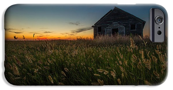 Abandoned School House. iPhone Cases - Forgotten on the Prairie iPhone Case by Aaron J Groen