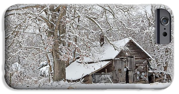 Barns In Snow iPhone Cases - Forgotten Winter Barn iPhone Case by Benanne Stiens