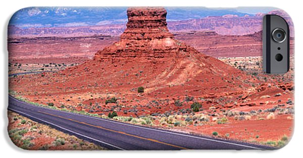 Red Rock iPhone Cases - Fork In Road, Red Rocks, Red Rock iPhone Case by Panoramic Images