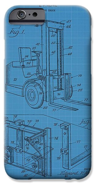 Revolution Mixed Media iPhone Cases - Forklift Blueprint Patent iPhone Case by Dan Sproul