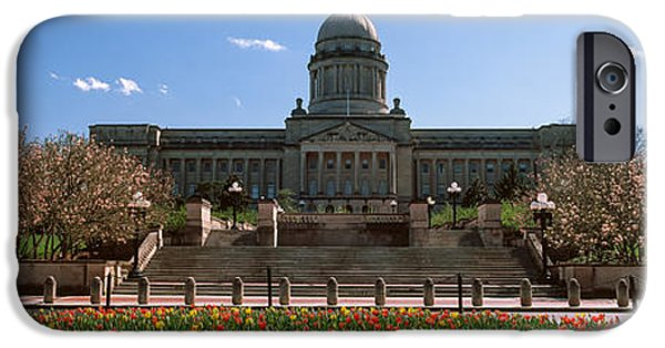 Franklin iPhone Cases - Formal Garden Outside State Capitol iPhone Case by Panoramic Images