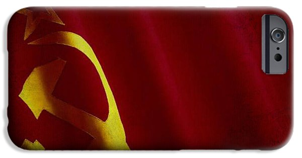Waving Flag Mixed Media iPhone Cases - Former USSR flag waving on canvas iPhone Case by Eti Reid