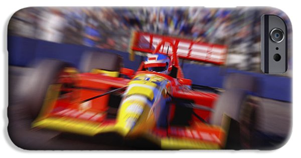 Indy Car iPhone Cases - Formula Racing Car At Speed iPhone Case by Don Hammond