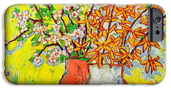 Abstract Expressionism iPhone Cases - Forsythia And Cherry Blossoms Spring Flowers iPhone Case by Ana Maria Edulescu