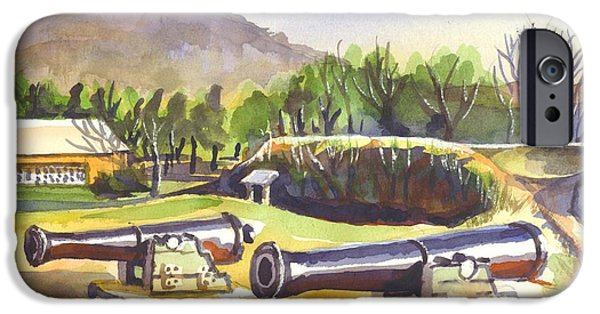 Park Scene Mixed Media iPhone Cases - Fort Davidson Cannon iPhone Case by Kip DeVore