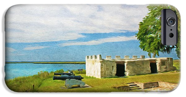 Ruin iPhone Cases - Fort Frederica iPhone Case by Laura D Young